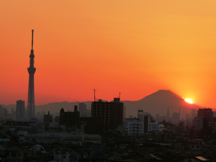 Sunset beyond Mt. Fuji with Tokyo Sky Tree
