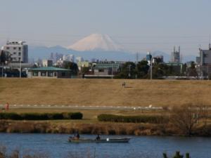 Yagari ferry with Mt.Fuji Unfocused