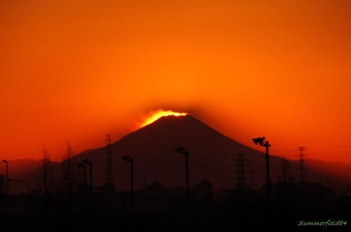 The Sun setting over the summit of Mt.Fuji